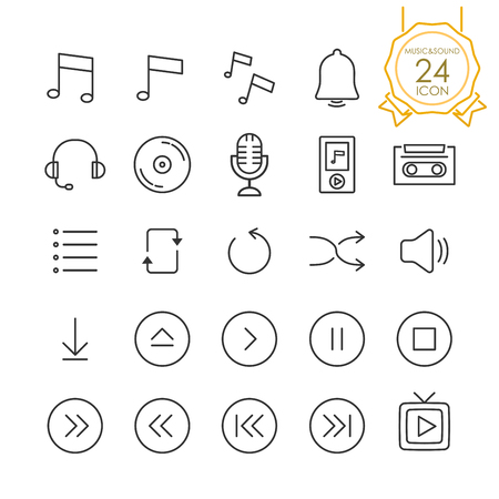 Set of music, audio, sound sign and symbols icons on white background.