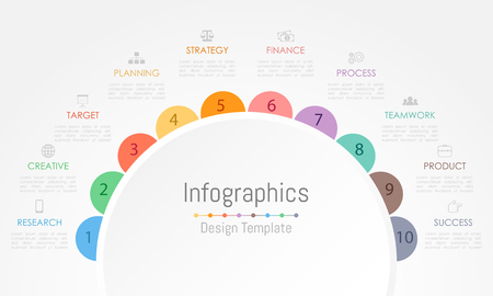 Infographic design elements for your business data with 10 options, parts, steps, timelines or processes. Vector Illustration. Stock Illustratie