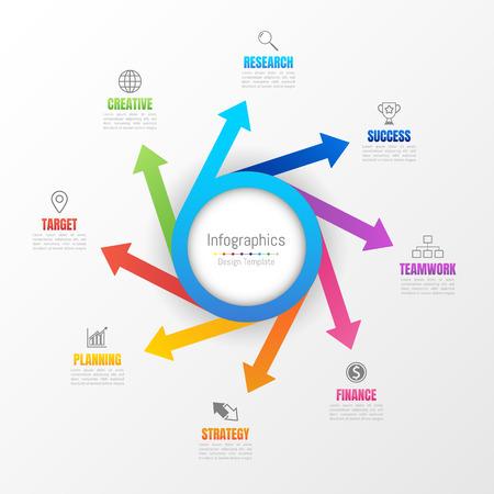 Infografik-Gestaltungselemente für Ihre Geschäftsdaten mit 8 Optionen, Teilen, Schritten, Zeitplänen oder Prozessen. Vektor-Illustration. Vektorgrafik