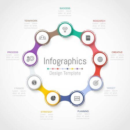 Infographic design elements for your business data with 9 options, parts, steps, timelines or processes.