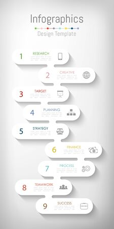 Infographic design elements for your business data with 9 options, parts, steps, timelines or processes. Vector Illustration. Ilustracja