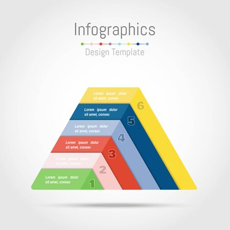 Infographic design elements with triangle shape for your business data with 6 options, parts, steps, timelines or processes. Vector Illustration.