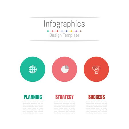 Infographic design elements for your business data with 3 options, parts, steps, timelines or processes. Vector Illustration. Ilustracja