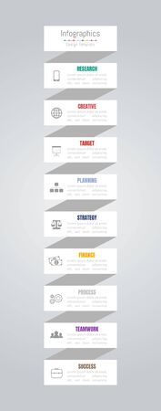 Infographic design elements for your business data with 9 options, parts, steps, timelines or processes. Vector Illustration. Ilustração