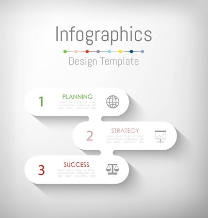 Infographic design elements for your business data with 3 options, parts, steps, timelines or processes. Vector Illustration. Ilustração