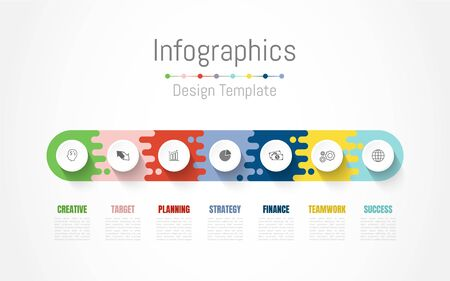 Infographic design elements for your business data with 7 options, parts, steps, timelines or processes. Vector Illustration. Ilustração