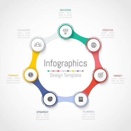 Infographic design elements for your business data with 7 options, parts, steps, timelines or processes. Vector Illustration. Ilustracja