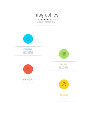 Infographic design elements for your business data with 4 options, parts, steps, timelines or processes. Vector Illustration. Ilustracja