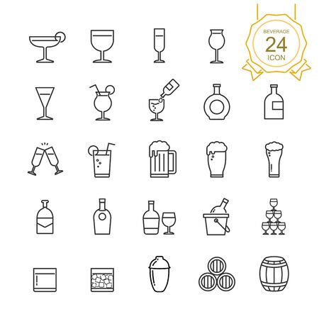 Set of drinks and beverages line icon on white background, Vector illustration.