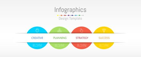 Infographic design elements for your business data with 4 options, parts, steps, timelines or processes. Vector Illustration. Çizim