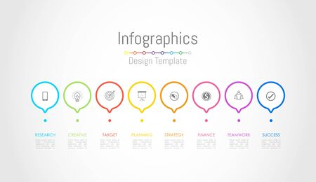 Infographic design elements for your business data with 8 options, parts, steps, timelines or processes. Vector Illustration. Vector Illustration