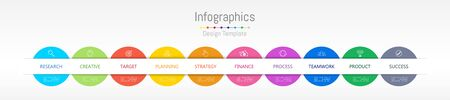 Infographic design elements for your business data with 10 options, parts, steps, timelines or processes. Vector Illustration. Çizim