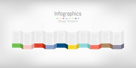 Infographic design elements for your business data with 10 options, parts, steps, timelines or processes. Vector Illustration. 矢量图像