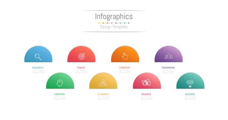 Infographic design elements for your business data with 8 options, parts, steps, timelines or processes. 矢量图像