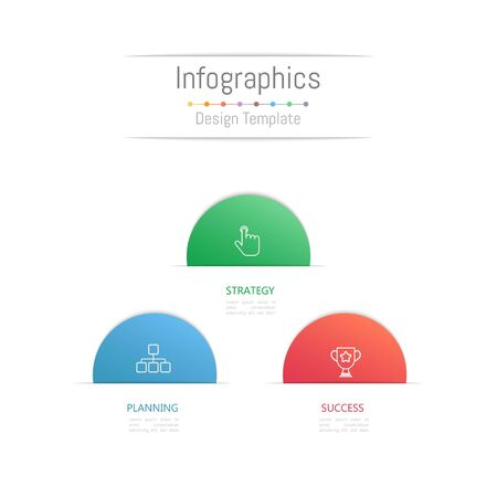 Infographic design elements for your business data with 3 options, parts, steps, timelines or processes. Vector Illustration. Çizim
