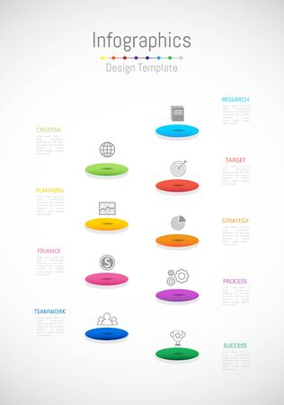 Infographic design elements for your business data with 9 options, parts, steps, timelines or processes. Vector Illustration. Çizim