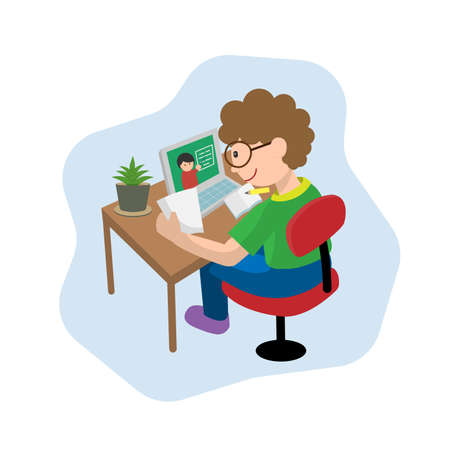 Boy using laptop for doing homework and learning online at home, flat vector illustration