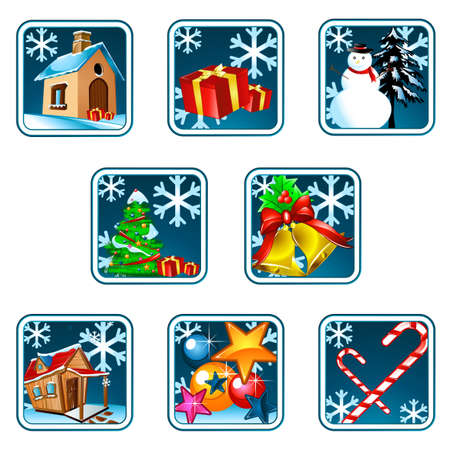 door bell: Christmas & New Year items sorted in Icons and may be used in many stuff.