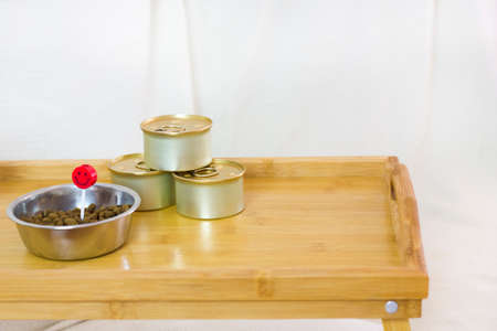 a wooden coffee tray with dry and canned cats food and a red candle on the white background. birthday cats concept. pets food. Close up