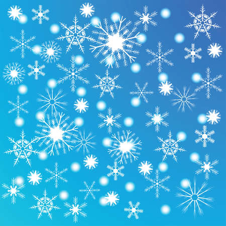 r image: The blue background with white different snowflakes. Illustration