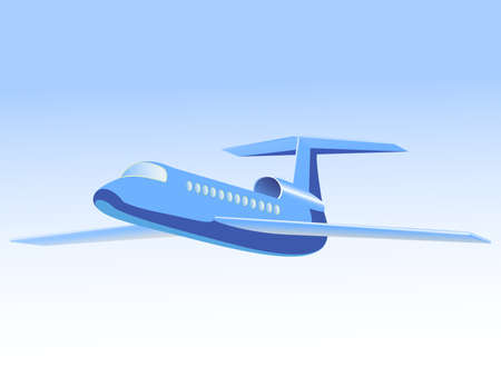 The jet plane flies in the sky Illustration