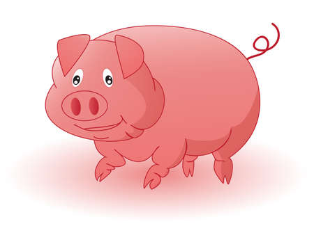 Pink cheerful a pig Illustration