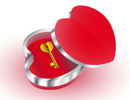 Casket in the form of heart with a key inside Illustration
