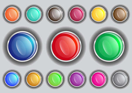 Set buttons in various colors   Stock Vector - 13617749