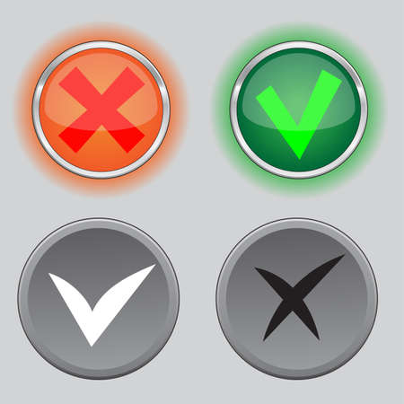 Check mark buttons, color variants and black white variants Illustration