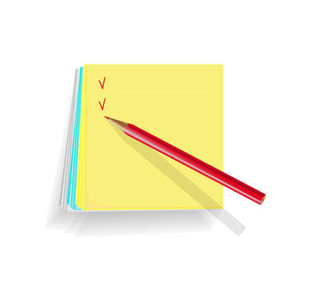 note papers on white background, a red pencil for notes Stock Vector - 13745838