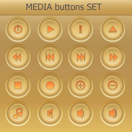 back button: media buttons set