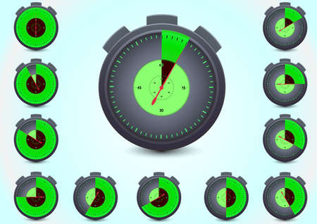 watch timer shows 5,10,15,20,25,30,35,40,45,50,55 and 60 minutes  Vector
