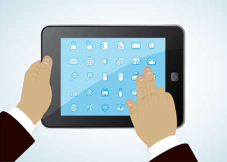 tablet in hands - concept a successful modern business life Vector