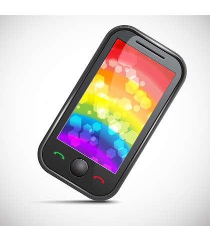 Icon of a modern mobile phone with an abstract colourful background Stock Vector - 15448170