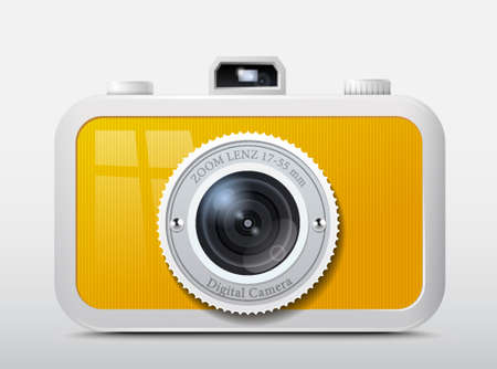 reflex camera: Camera icon in the plastic case Illustration