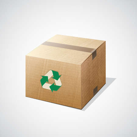 box cardboard, recycle symbol Stock Vector - 16136054