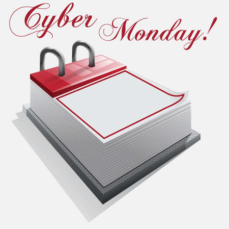 Kalender cyber maandag op een witte achtergrond