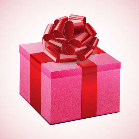 Gift pink box with a red bow Stock Vector - 16685601