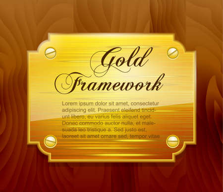 Gold framework on wooden structure Vector