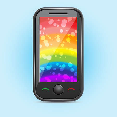 Icon of a mobile phone with a rainbow on the screen Stock Vector - 16685581
