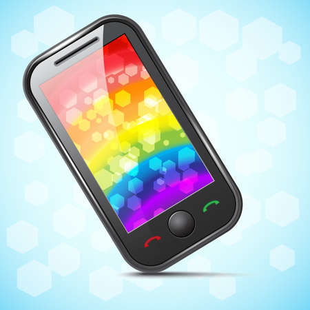 Icon of a  phone with a rainbow on the screen Stock Vector - 16685589