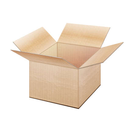 Realistic open cardboard box on a white background Stock Vector - 16685606