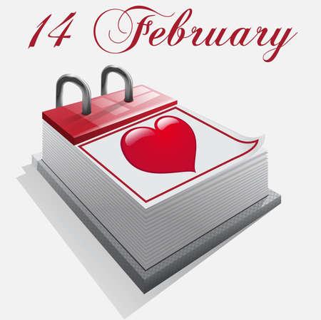 Calendar on February 14 Stock Vector - 16921658