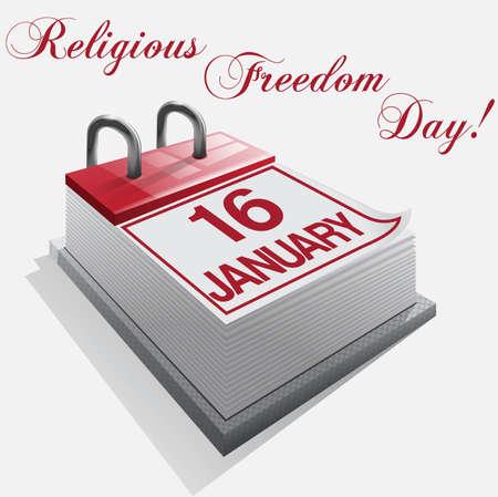 Calendar 16 January Religious Freedom Day Stock Vector - 16921653