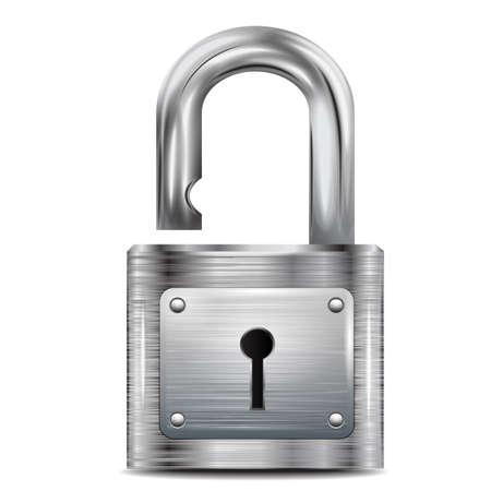 padlock: icon open padlock, metal structure Illustration