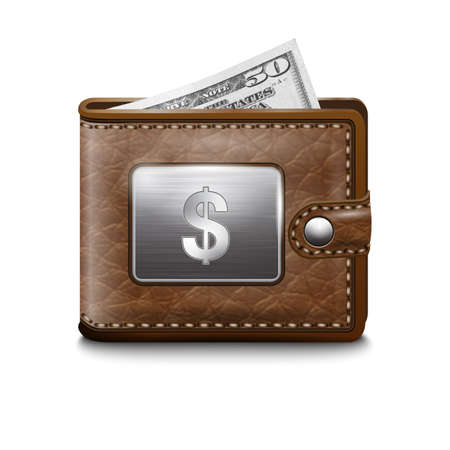 Leather wallet  with dollar USA, vector image Stock Vector - 16921637