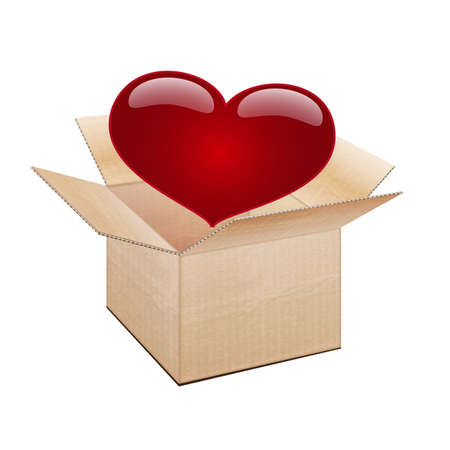 pretty s shiny: open cardboard box and heart Illustration
