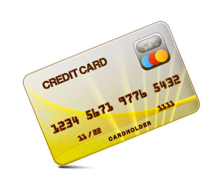 mastercard: Credit card on a white background