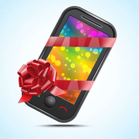 Mobile phone with a tape and a bow Stock Vector - 16954350
