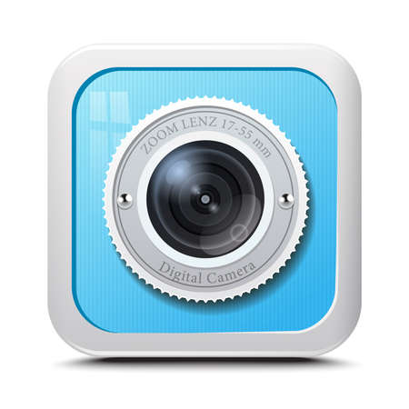 Icon camera blue isolated on a white background. Vector